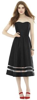 Women's Alfred Sung Illusion Stripe Strapless A-Line Midi Dress $198 thestylecure.com