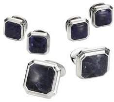 David Donahue Octagonal Sodalite Sterling Silver Cuff Links Set
