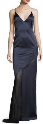Galvan Satin Open-Back Cami Gown