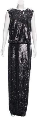 Rachel Zoe Sequin Drape-Accented Dress