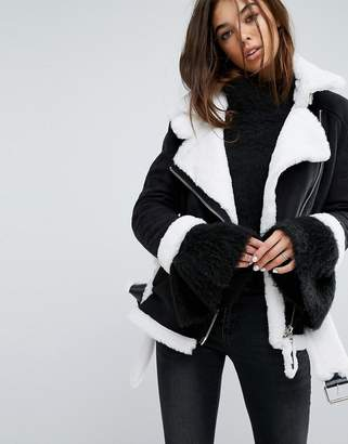 story. Of Lola Oversized Aviator Coat With Faux Shearling Lining