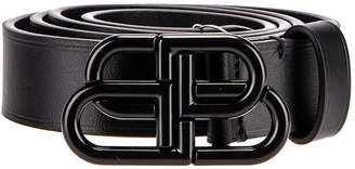 Balenciaga Thin BB Belt in Black | FWRD
