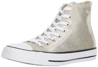 Converse Chuck Taylor All Star Glitter Canvas High Top Sneaker, Light Gold/White
