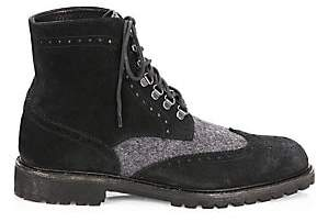 Saks Fifth Avenue Men's COLLECTION Wingtip Suede Combat Boots