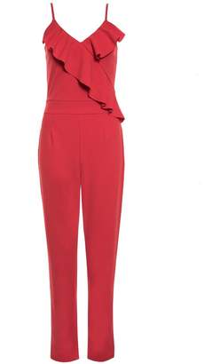 Quiz Red Frill Detail Strappy Jumpsuit