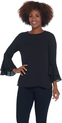 Joan Rivers Classics Collection Joan Rivers Flowy Blouse with Trumpet Sleeve Detail