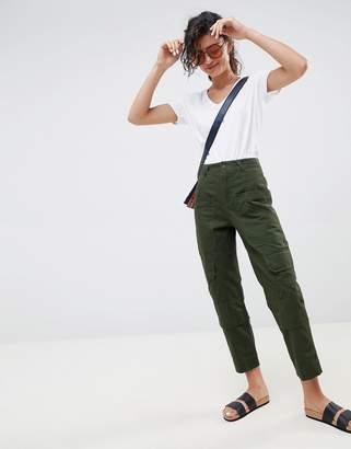 Asos DESIGN slim leg utility pants in green