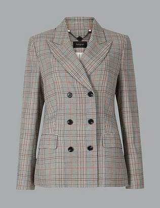 Marks and Spencer Oversized Checked Double Breasted Blazer