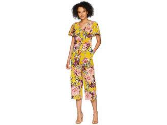 Tahari ASL Tie Front Floral Cropped Jumpsuit