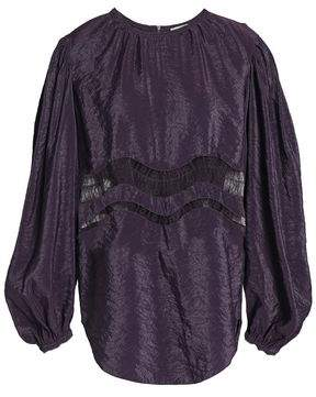Nina Ricci Lace-Trimmed Crinkled Crepe Top