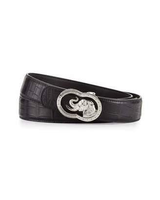 Stefano Ricci Crocodile Belt with Silvertone Elephant Buckle, Black $2,825 thestylecure.com