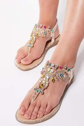b0aafefd3 Quiz Multicoloured Jewel Trim Flat Sandals