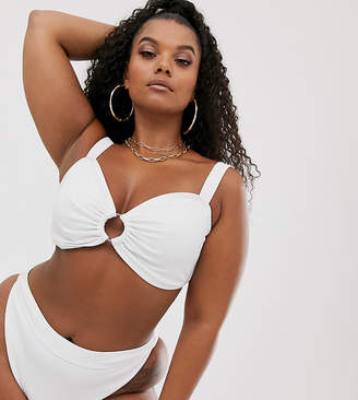 South Beach Curve Exclusive mix and match ribbed ring bandeau bikini top in white