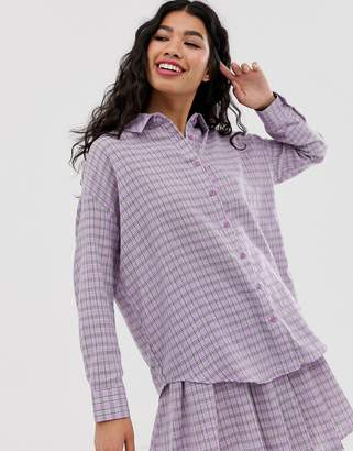 Daisy Street boyfriend shirt in gingham co-ord