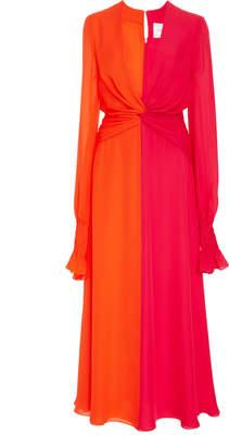 Carolina Herrera V-Neck Long Sleeve Dress