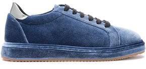 Brunello Cucinelli Patent Leather-Trimmed Velvet Sneakers