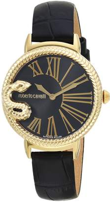Roberto Cavalli by Franck Muller Women's 'OVERSIZED SNAKE' Quartz Stainless Steel and Leather Casual Watch, Color: (Model: RV1L020L0026)
