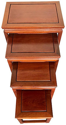 One Kings Lane Vintage Chinese Rosewood Asian Nesting Tables - Uptown Found