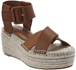 Sole Society Leather Espadrille Platform Wedges- Audrina
