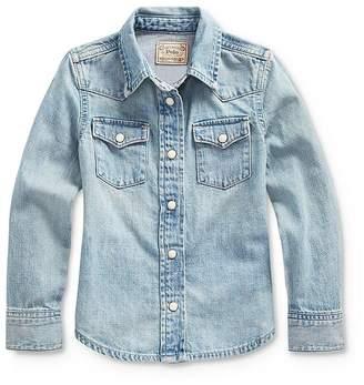 Ralph Lauren Girls' Denim Shirt - Little Kid