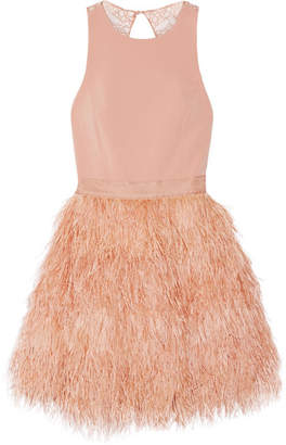 Alice + Olivia Alice Olivia - Philomena Feather-embellished Cady And Lace Mini Dress - Blush