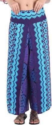 CandyHusky Women Casual Bohemian Hippie Gypsy Harem Palazzo Wide Leg Print Pants