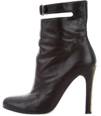 Miu Miu Leather Round-Toe Ankle Boots
