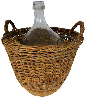 One Kings Lane Vintage Antique French Vintner's Bottle & Basket - Cliffe's Edge Antiques