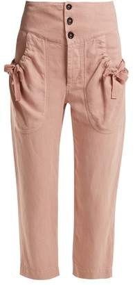 Etoile Isabel Marant Weaver High Rise Cropped Trousers - Womens - Light Pink