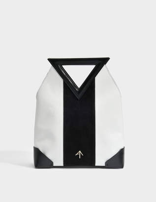 Atelier Manu Triangle North Tote Bag in Black and White Vegetable Tanned Calfskin and Suede