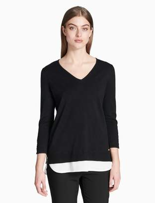 Calvin Klein v-neck double layer 3/4 sleeve top