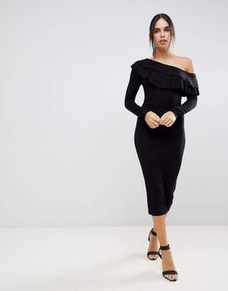 Asos Design Asymmetric Double Ruffle Bodycon Midi Dress