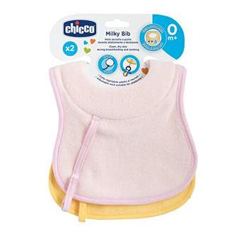 Chicco 00016300100000 Cotton Bibs + Dummy Clip Set of 2, Yellow/Pink