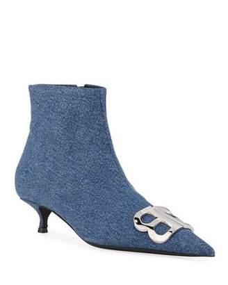 Balenciaga BB Denim Ankle Booties