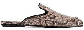 Alexander Wang Embellished Snake-Effect Leather Slippers