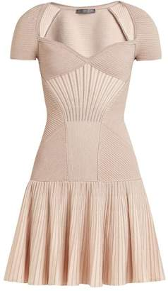 Alexander McQueen Sweetheart Neck Short Sleeved Wool Blend Dress - Womens - Pink