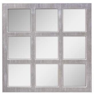 STONEBRIAR COLLECTION Stonebriar Square Rustic 9 Panel Window Pane Hanging Wall Mirror with Worn White Finish and Attached Mounting Brackets