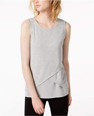 Bar III Layered Chiffon-Hem Sleeveless Top
