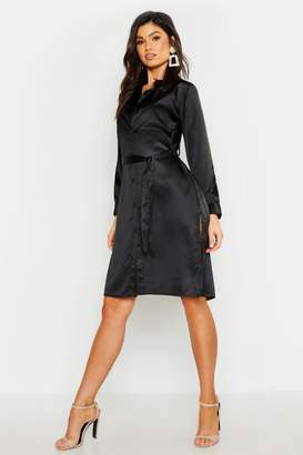01fa3e0fde7 Black Satin Dress Split - ShopStyle UK