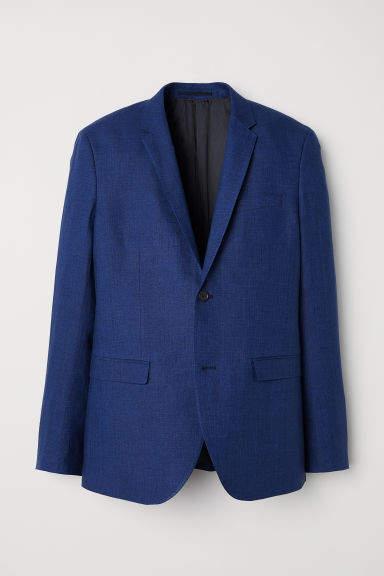 H&M - Slim Fit Linen Blazer - Blue