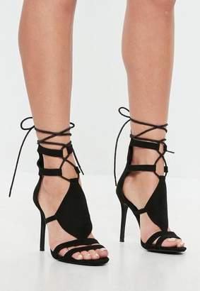 Missguided Black Ankle Tie Gladiator Heeled Sandals
