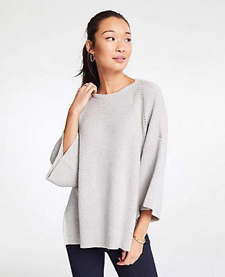 Ann Taylor Pointelle Sweater Poncho