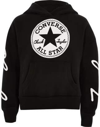 Converse River Island Girls Black cropped hoodie