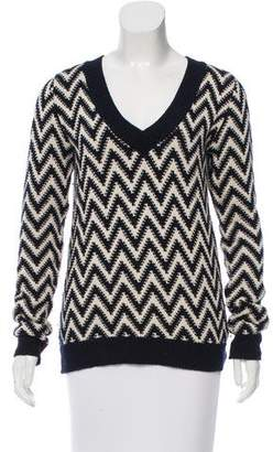 ADAM by Adam Lippes V-Neck Chevron Pattern Sweater
