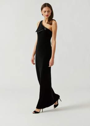Emporio Armani One-Shoulder Carded Chenille Jersey Dress With Glossy Satin Details