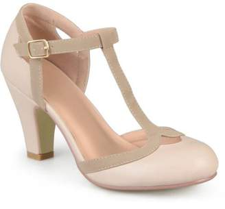 Co Brinley Women's Medium and Wide Width Cut Out Round Toe T-strap Two-tone Matte Mary Jane Pumps