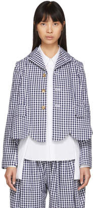 Comme des Garcons Blue and White Gingham Scalloped Blazer