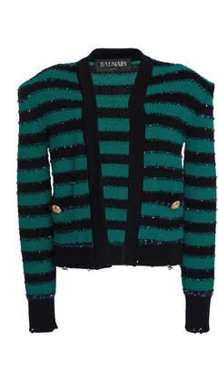 Balmain Open Front Striped Crochet-Knit Jacket