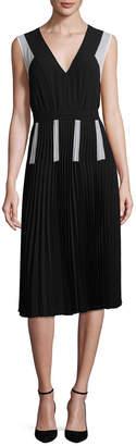 BCBGMAXAZRIA Colorblocked Pleated A-Line Dress