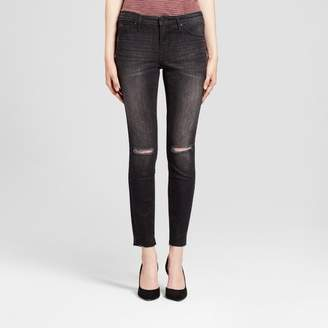 Mossimo Women's Jeans Mid Rise Knee Slits Released Hem Jeggings - Mossimo Black $29.99 thestylecure.com